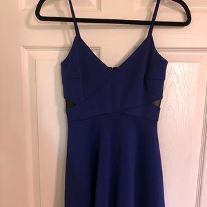 Navy blue v neck dress. black mesh detailing.
